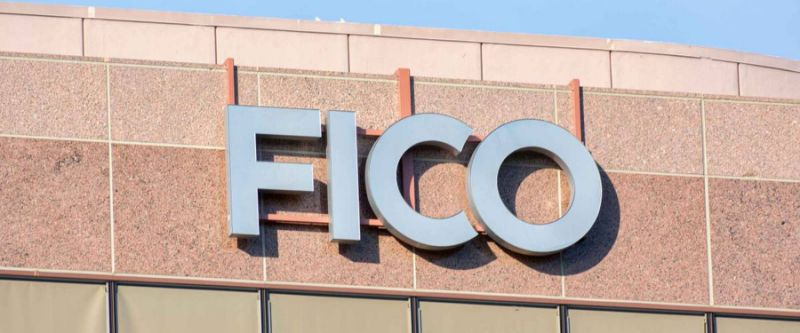 FICO sign on headquarters of Fair Isaac Corporation in Silicon Valley. FICO is a data analytics company focused on credit scoring services - San Jose, California, USA - June 16, 2019