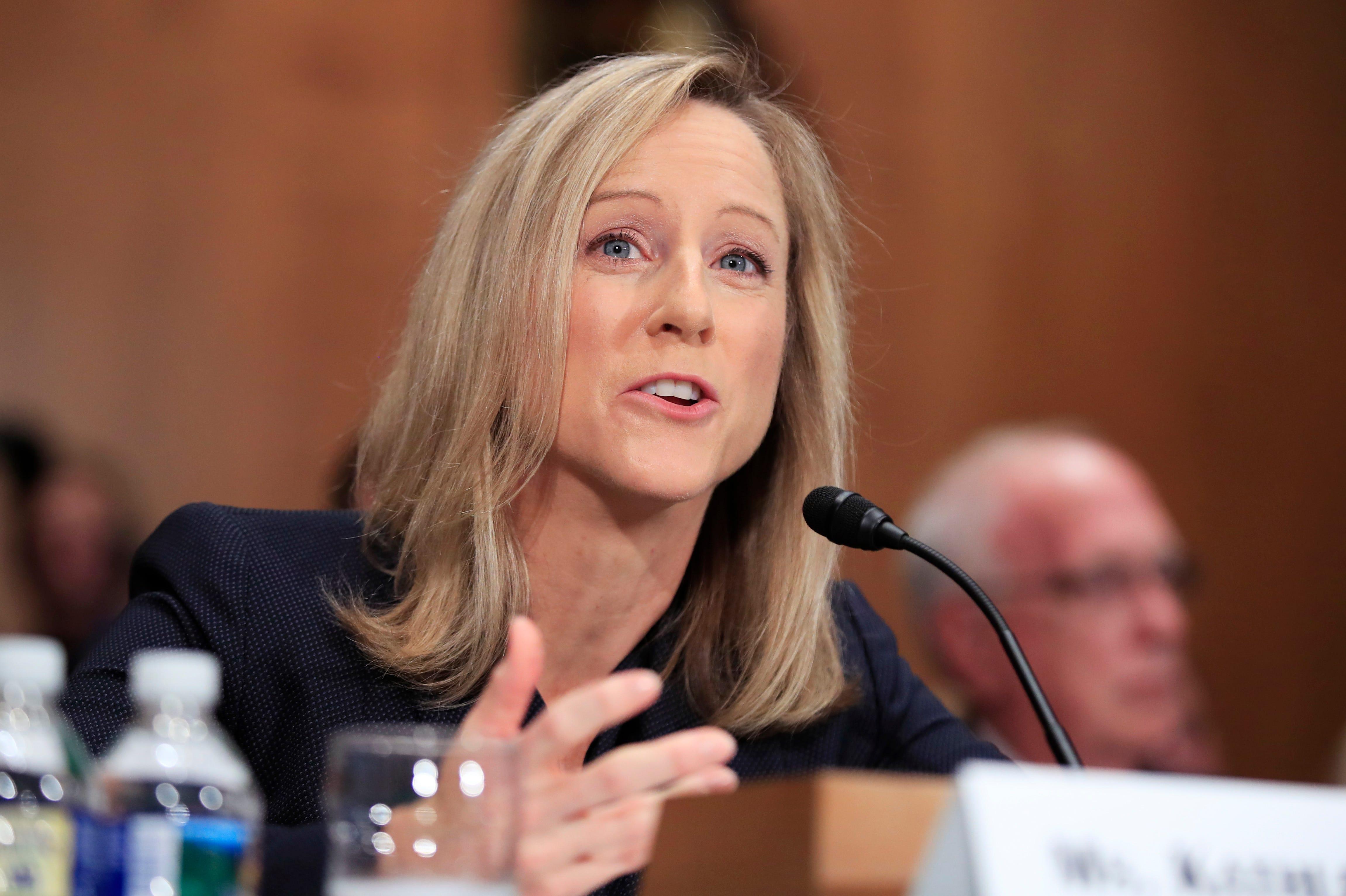 Kathy Kraninger testifies at her nomination hearing on July 19, 2018.