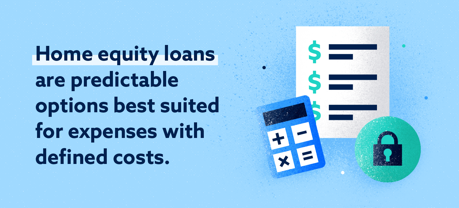 home equity loans are predictable options best suited for expenses with defined costs