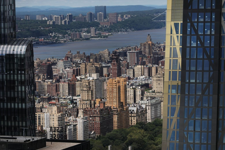 Buildings, both residential and commercial, give form to the iconic Manhattan skyline.