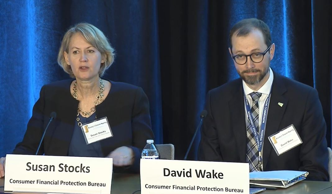 Panel One Moderators Susan Stocks of the CFPB with David Wake of the FTC