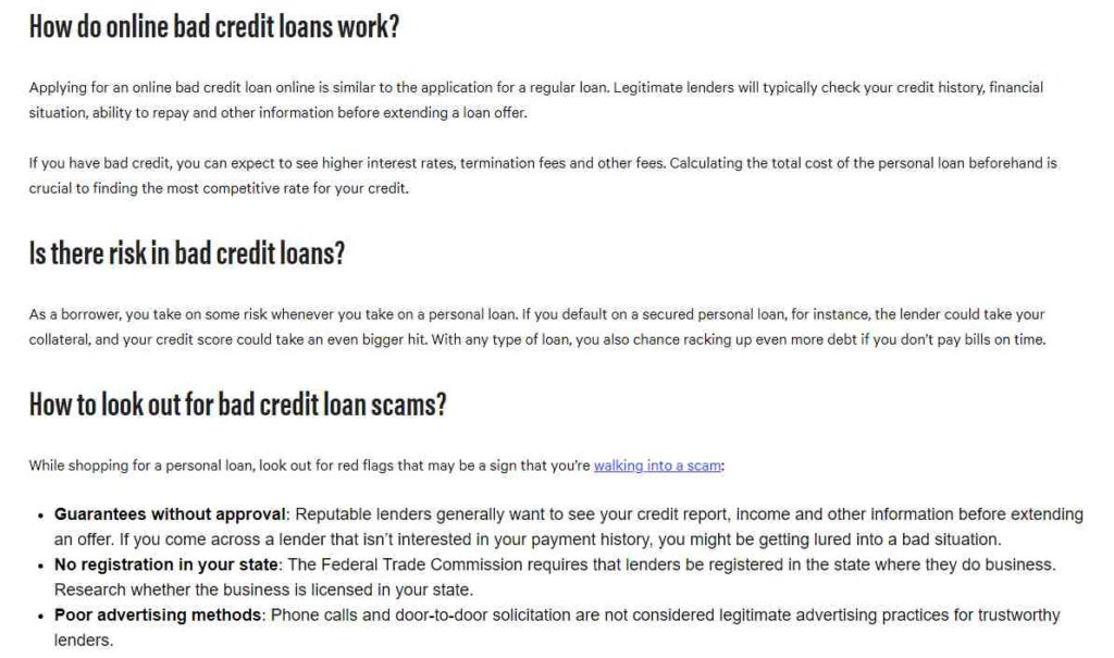 Frequently asked questions about bad credit loans