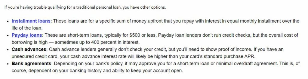 Additional types of loans for people with bad credit