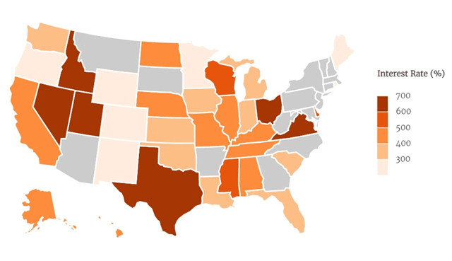 Payday Loan Interest Rate Map