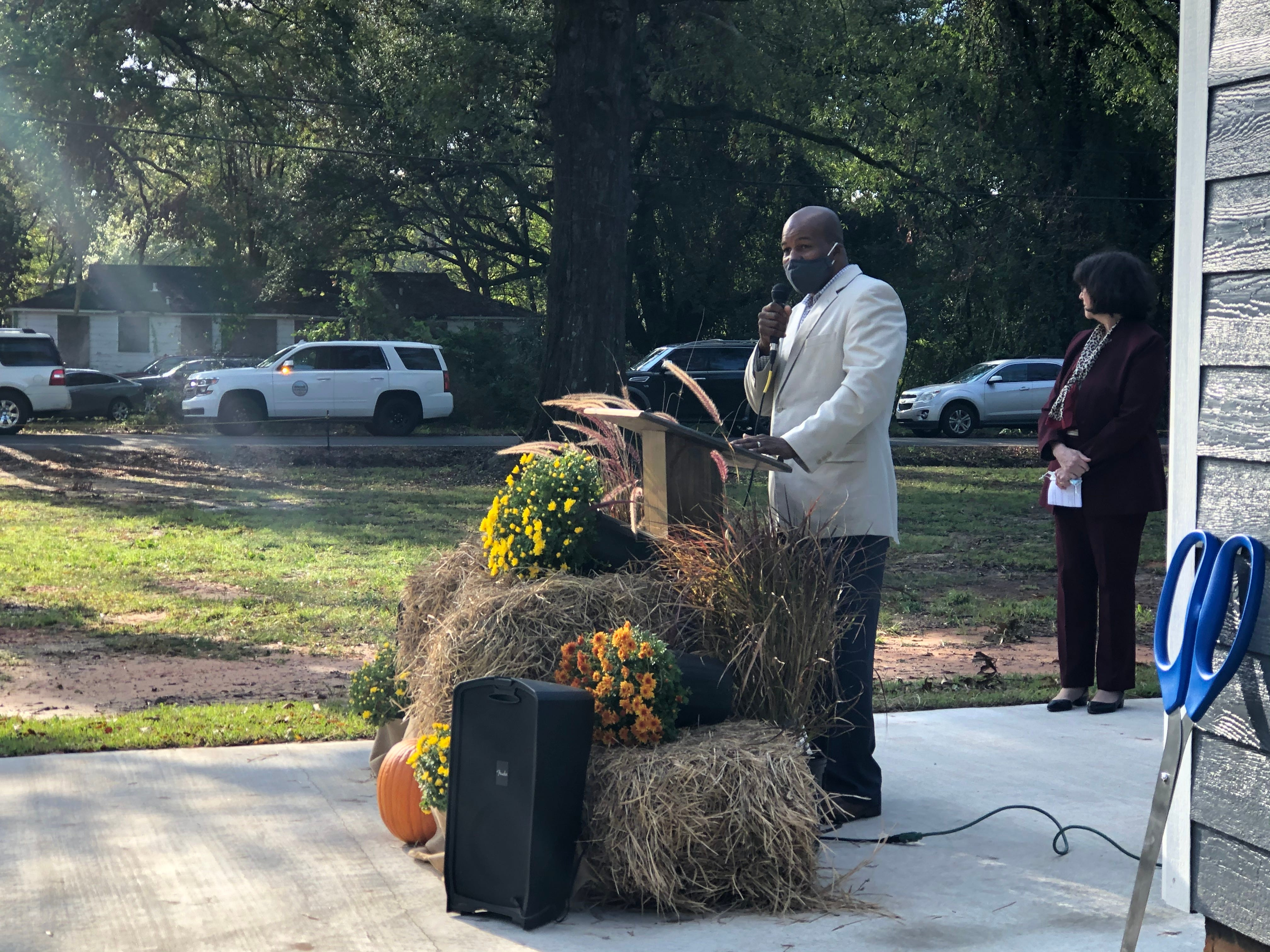 Carday Marshall Sr. speaks at a ribbon-cutting for 23 new Monroe Housing Authority properties on South Third and South Fourth Street in Monroe on October 29, 2020.