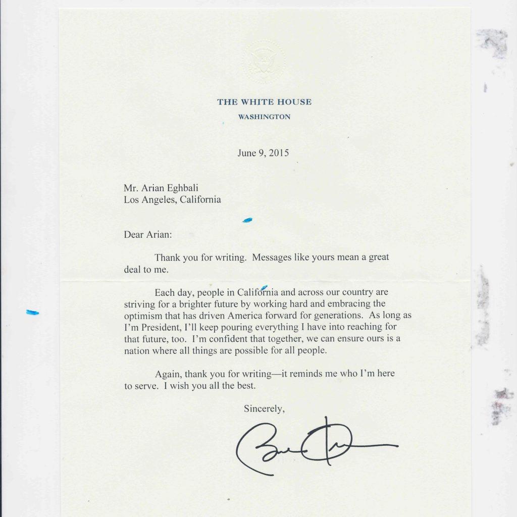 Obama Letter to Arian Eghbali