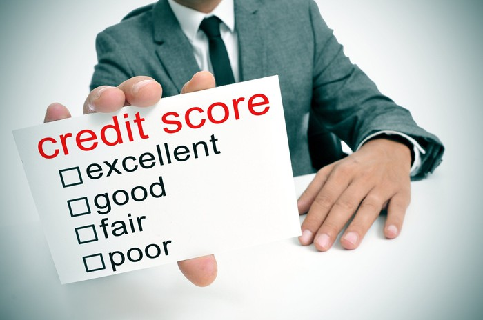 Outstretched hand holding notecard that reads credit score with boxes to be checked for fair good excellent, etc.