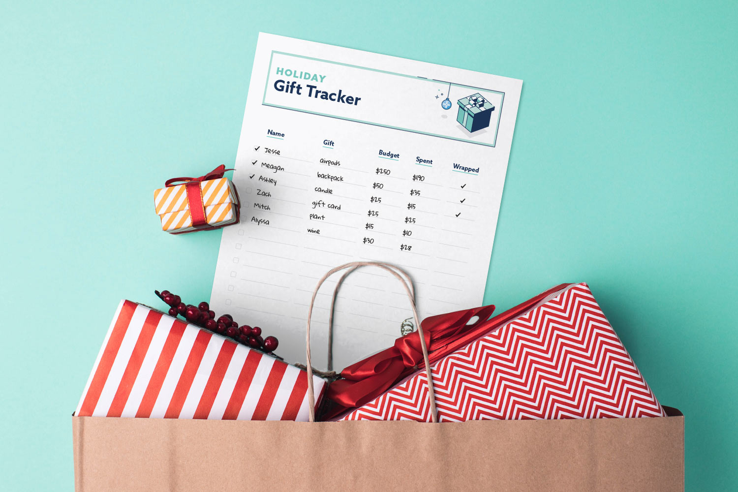 Holiday gift tracker printable