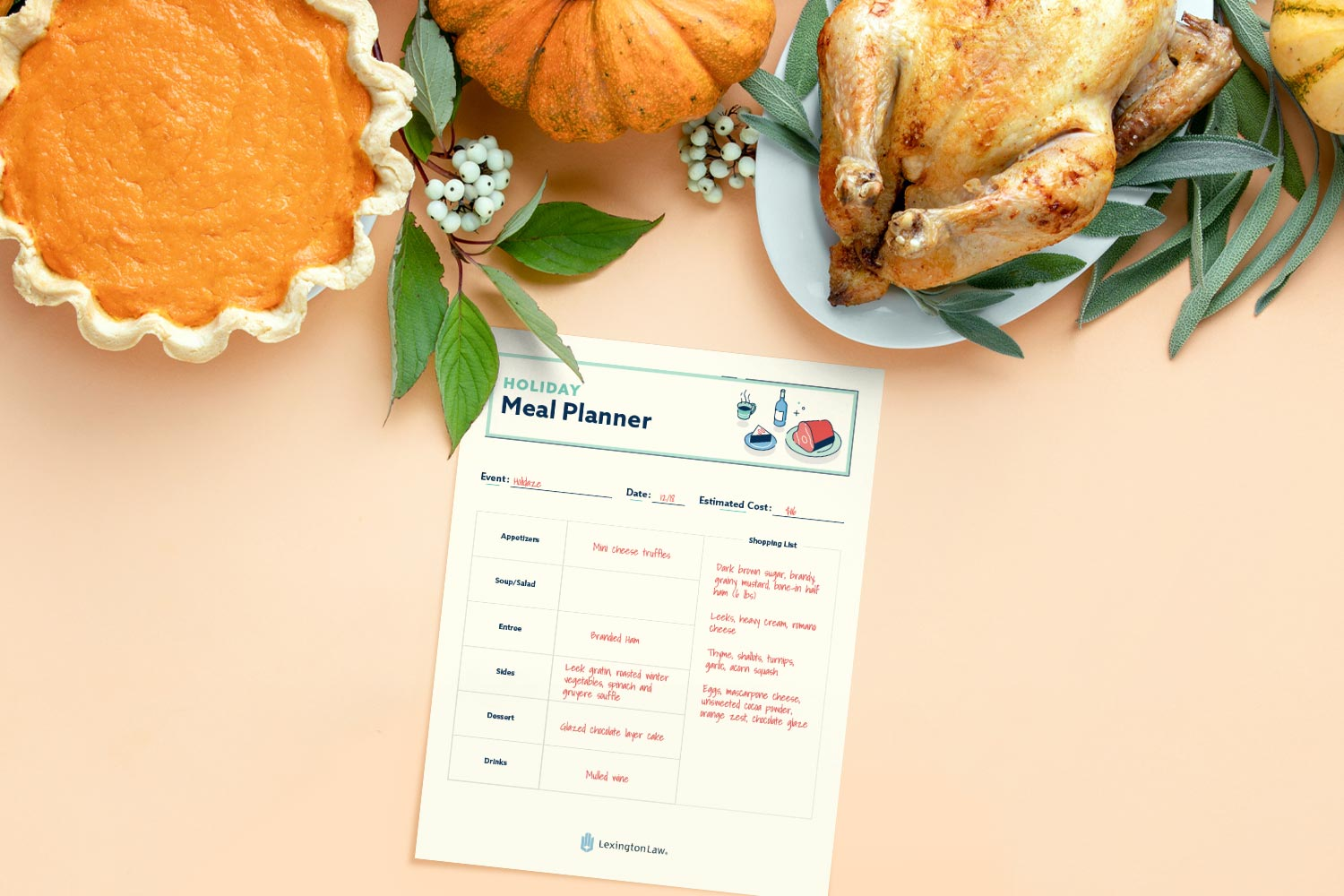 Holiday meal planner printable