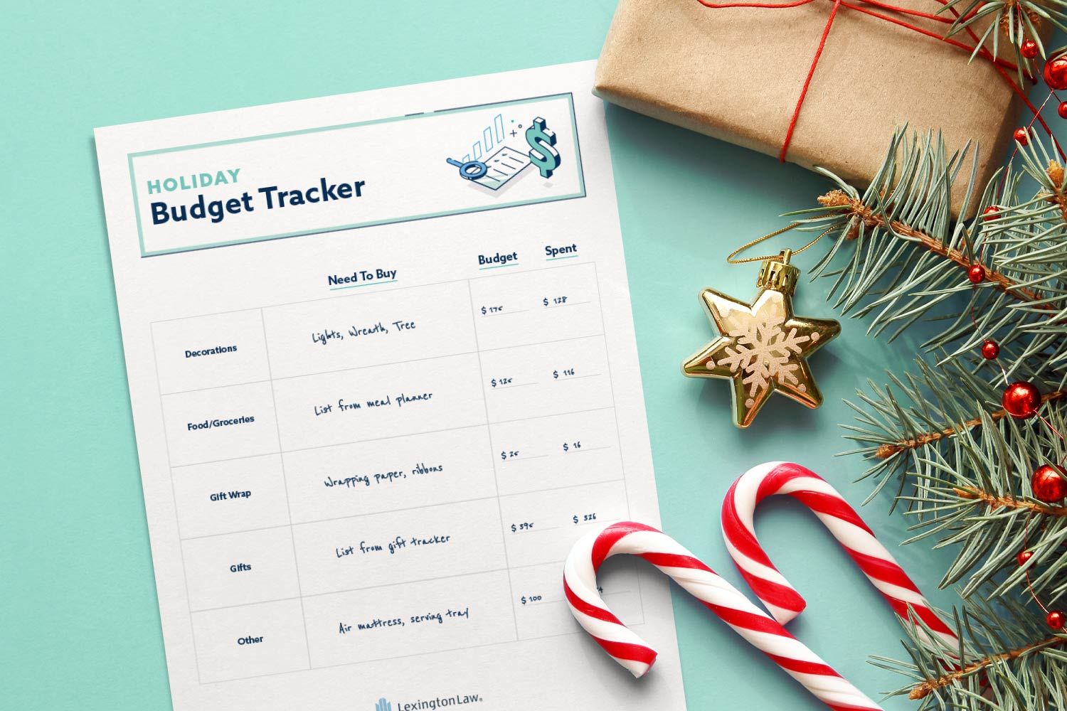 Holiday budget tracker printable