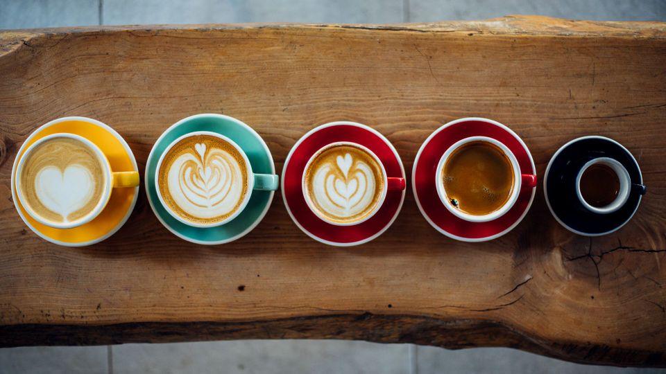 Aerial view of various coffee.