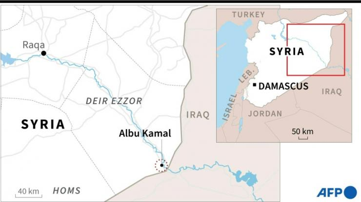 Map showing Albu Kamal in eastern Syria, near where the US military on Thursday struck facilities used by Iran-backed armed groups.
