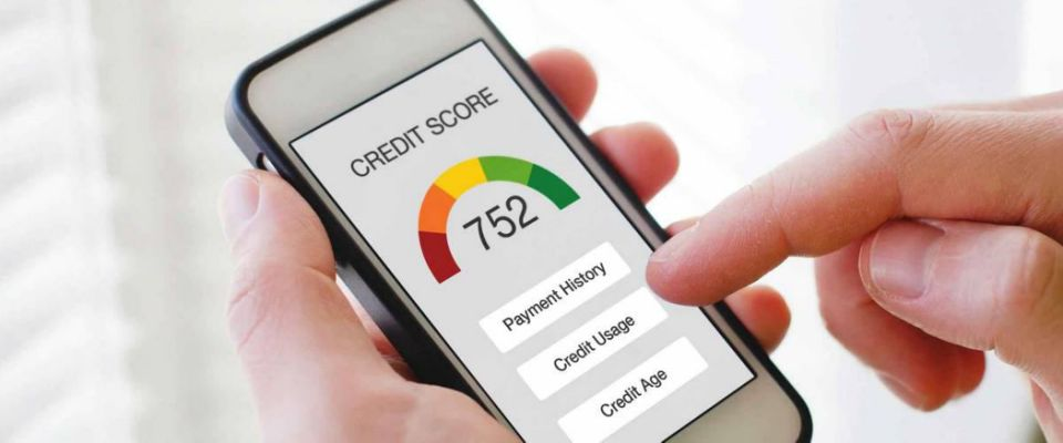credit score concept on the screen of smart phone, checking payment history and ranking in bank online