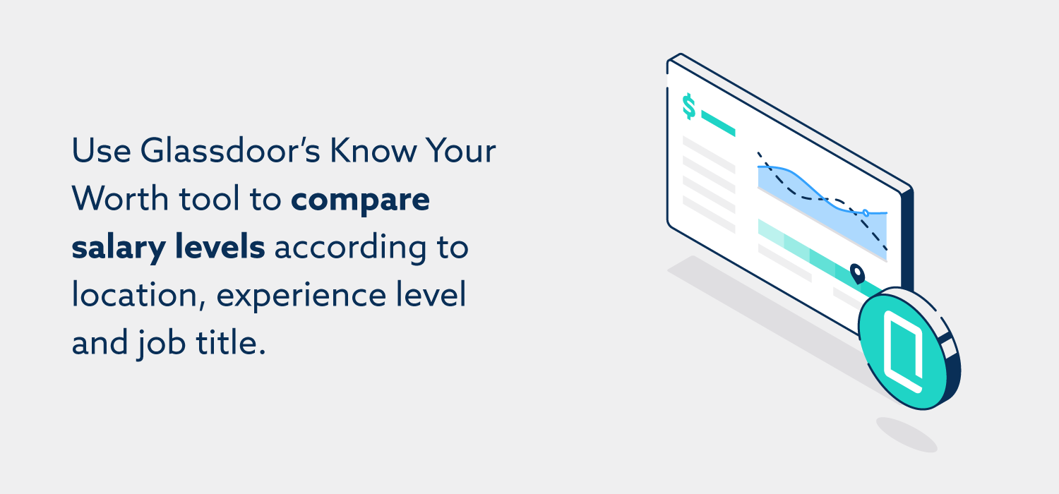Use Glassdoor's Know Your Worth tool to compare salary levels according to location, experience level and job title.