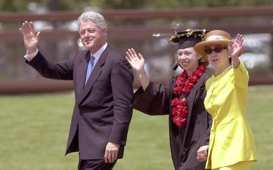 390695 11: Former U.S. President Bill Clinton, daughter Chelsea Clinton center, and U.S. Senator Hillary Clinton wave as they leave Chelsea''s graduation ceremony June 17, 2001 at Stanford University in Stanford, California. (Photo by Justin Sullivan/Getty Images)