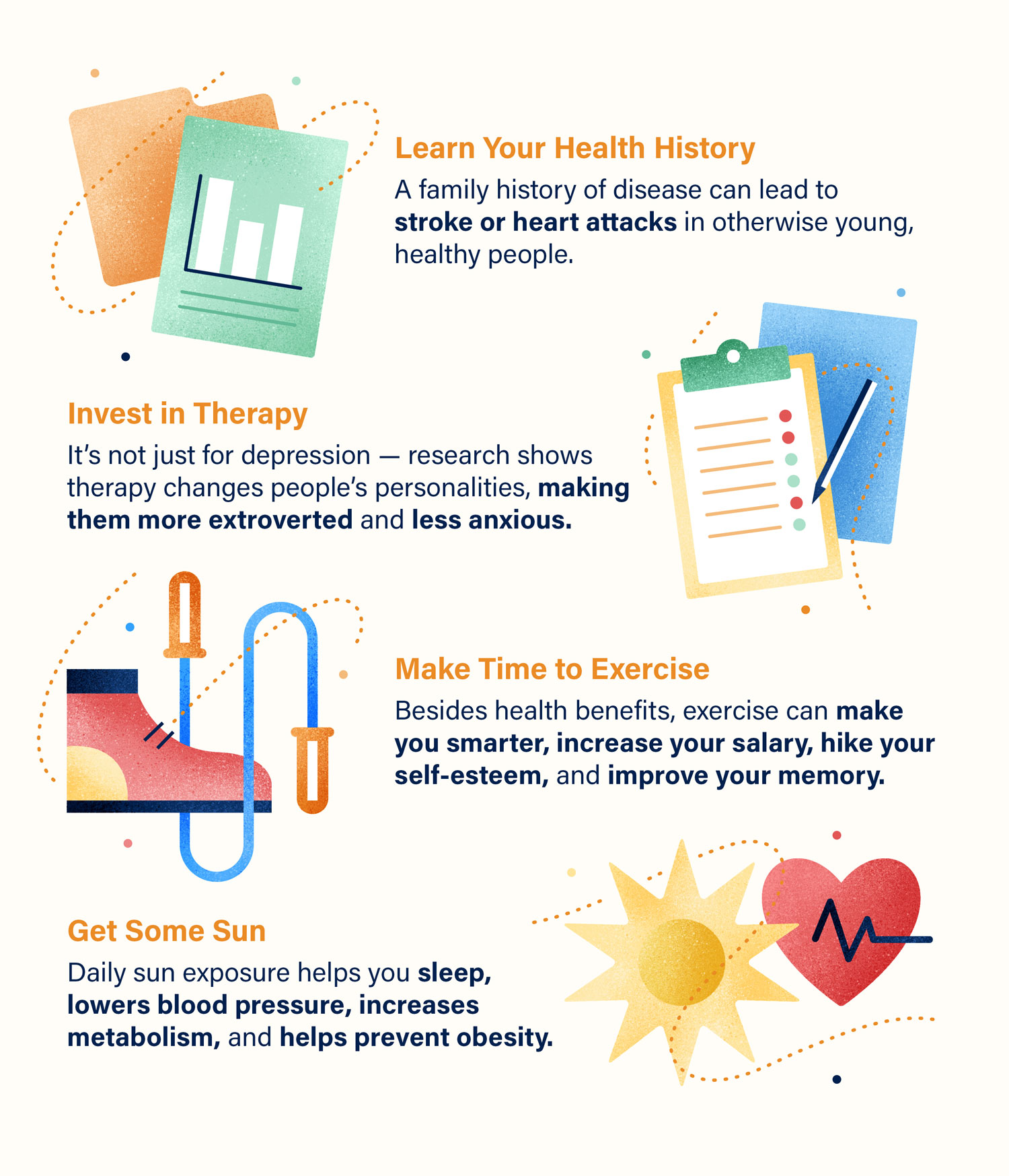 Graphic list of ways to invest in your health