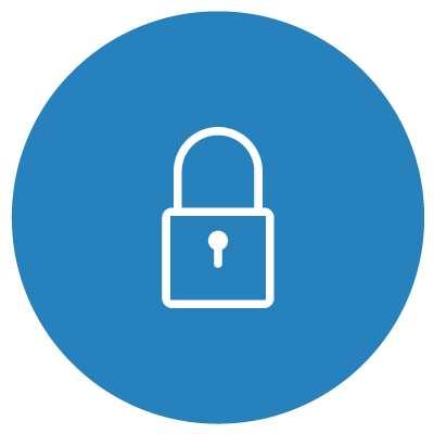 White padlock on blue background