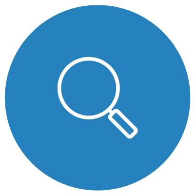 white magnifying glass on blue background