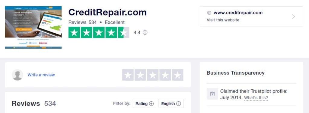 CreditRepair.com on TrustPilot